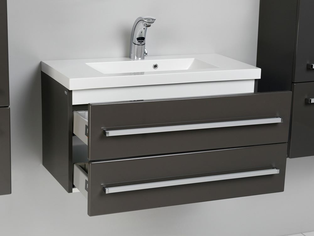 Bathroom avenue grey wall mounted bathroom cabinet with sink for Bathroom washbasin cabinet