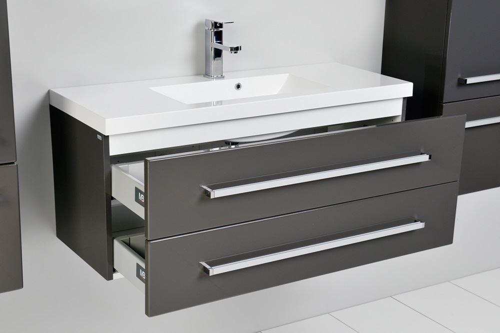 Bathroom Avenue Grey wall mounted bathroom cabinet with sink