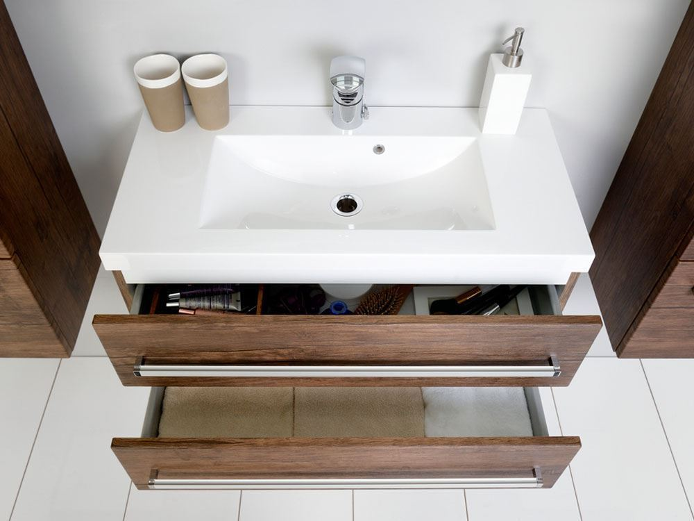 Bathroom avenue wall hung resin basin vanity unit 2 drawer antique wood giuseppine - Marble vanity units ...