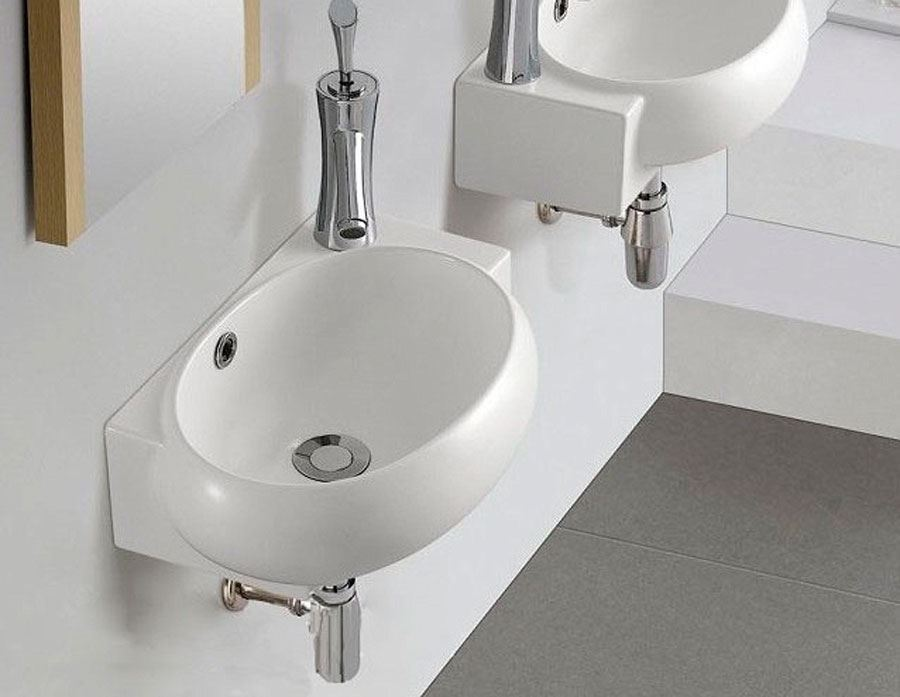 Small Counter Top Basins : ... Compact Small Bathroom Counter Top Wash Basin Modern Wall Hung Basin