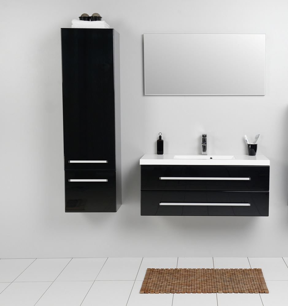 Model Fresca FST8091BW Black Bathroom Linen Side Cabinet W 2 Storage