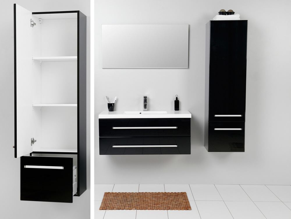 Creative  Cabinets  Fresca Black Bathroom Linen Side Cabinet W 2 Storage Areas