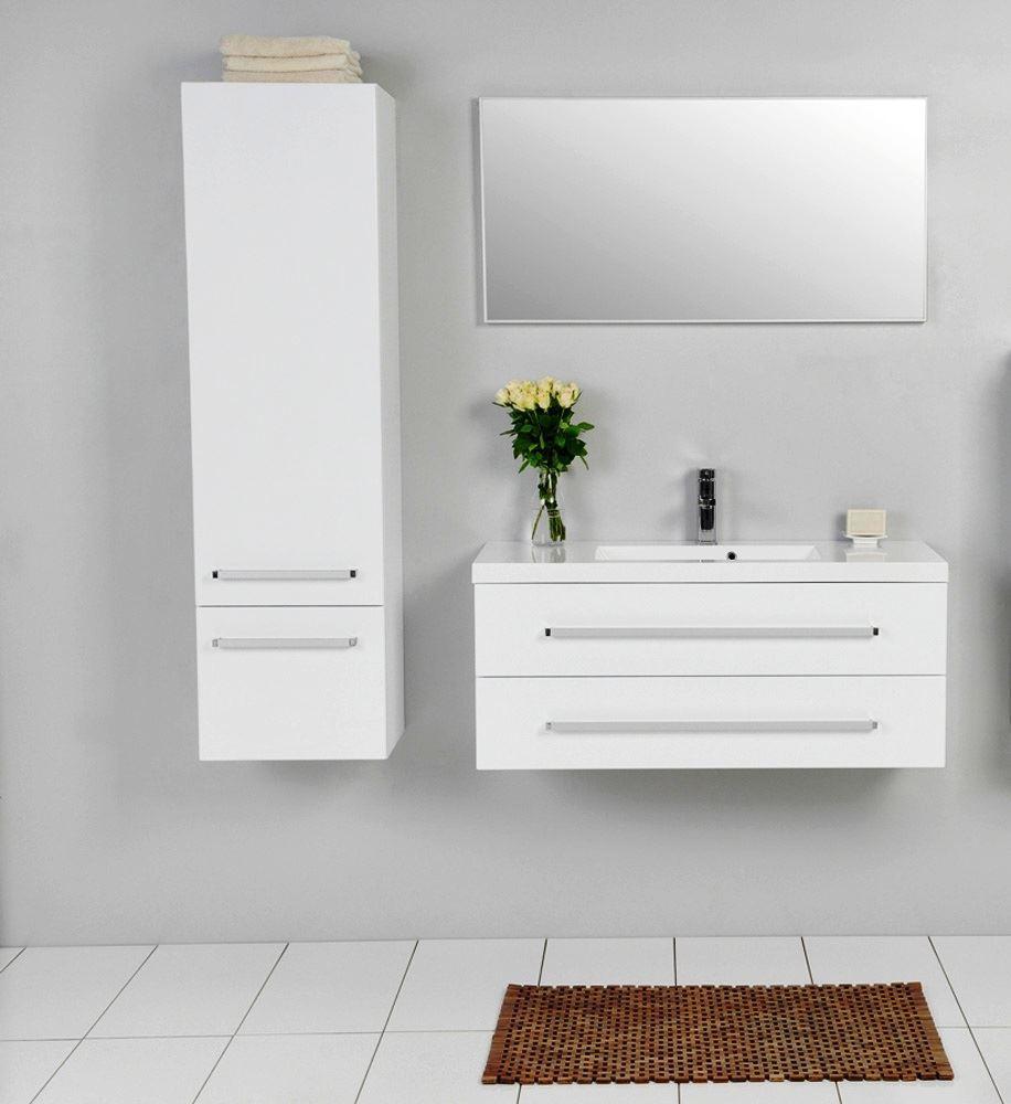Bathroom avenue modern tall bathroom storage unit white for Tall bathroom shelf unit