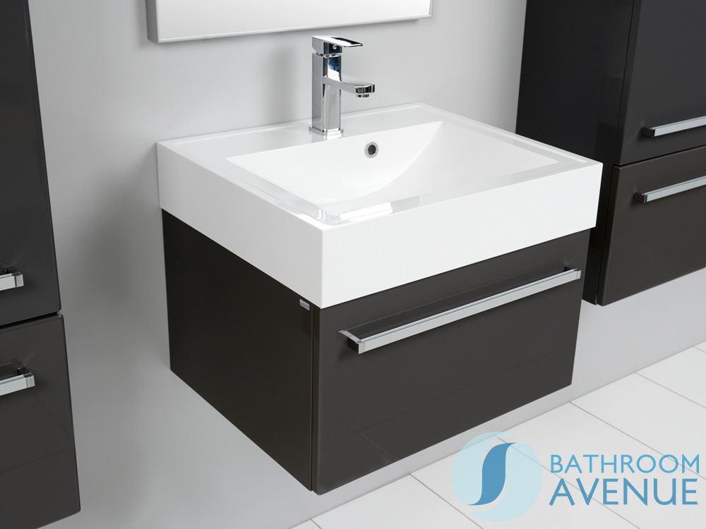 Grey Vanity Unit With Resin Wash Basin Grey Wall Mounted