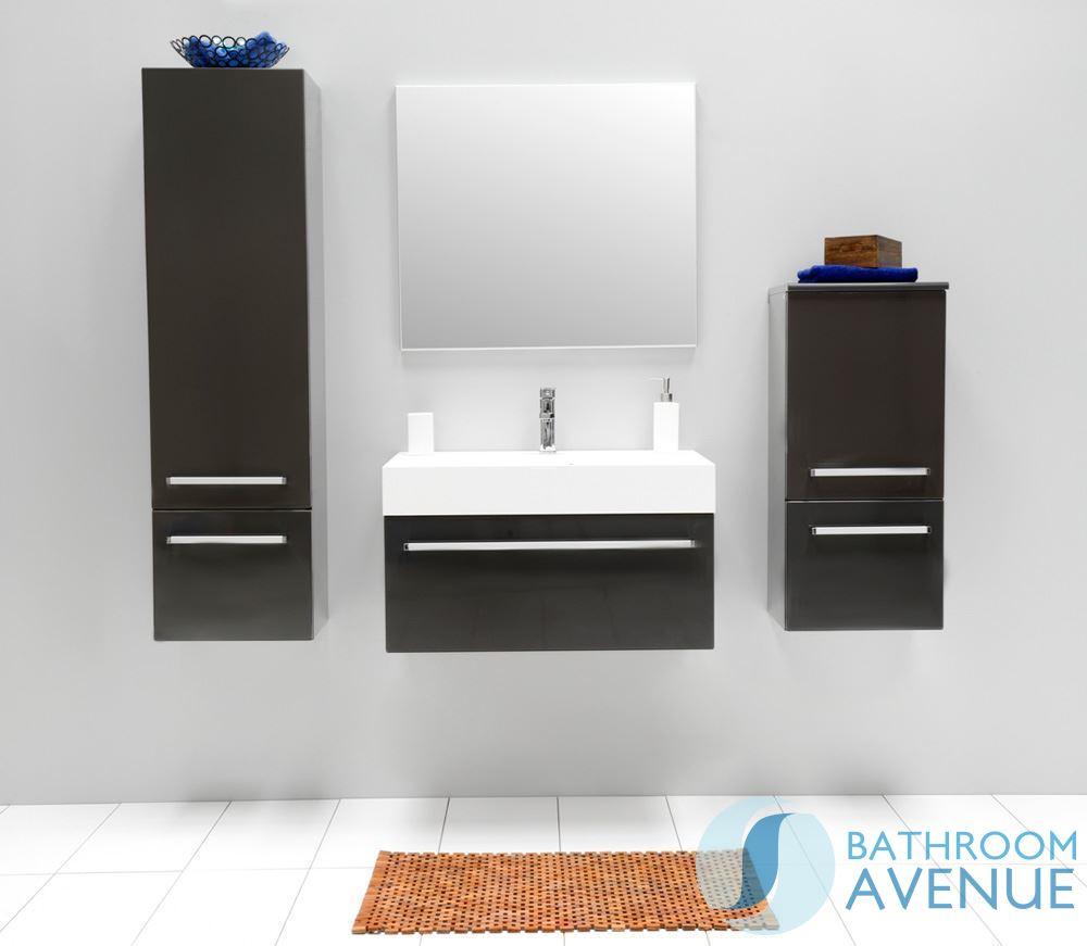 Grey bathroom wall hung tall cabinet giuseppine grey for Tall bathroom wall cabinet