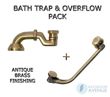 Antique Brass Traditional Bath Trap with Pop up Waste and Overflow Combo Pack