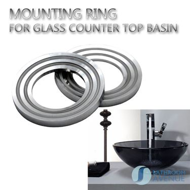 Mounting ring spacer for glass wash basin