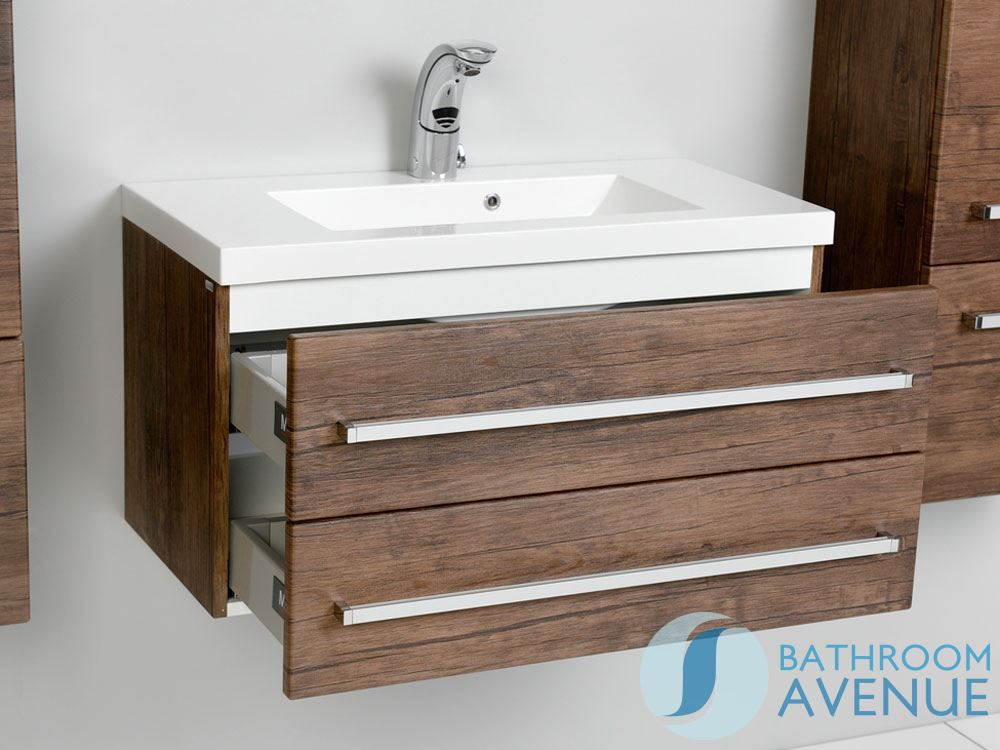 ... Wall Hung 2 Drawer Vanity Unit Antique Wood Giuseppine - Wall Hung Resin Basin Vanity Unit 2 Drawer Antique Wood Giuseppine