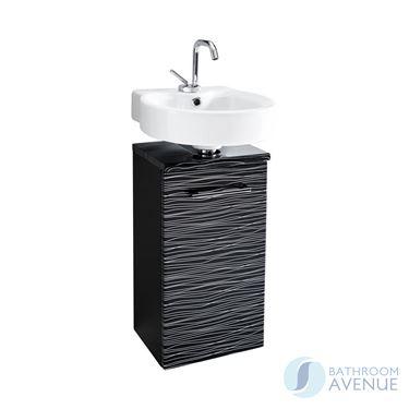 Small Bathroom Vanity Unit Black & Silver Stripes Tramonto