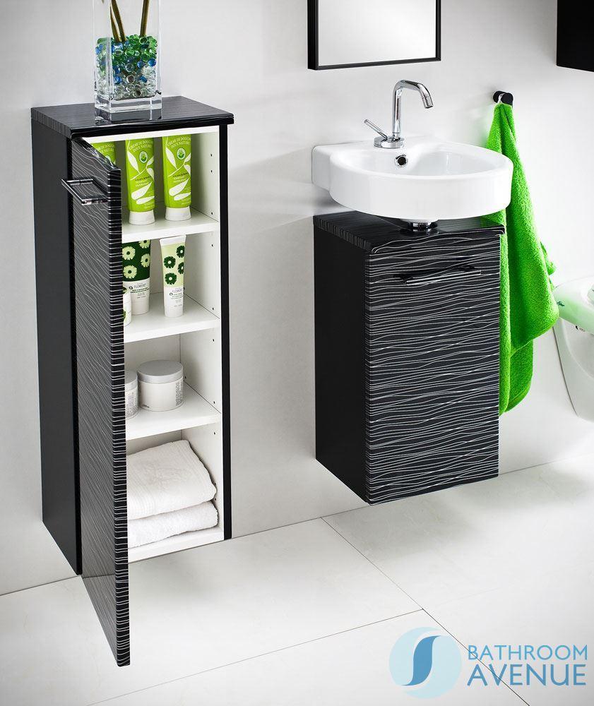 Bathroom cabinet black -  Small Bathroom Vanity Unit Black Silver Stripes Tramonto
