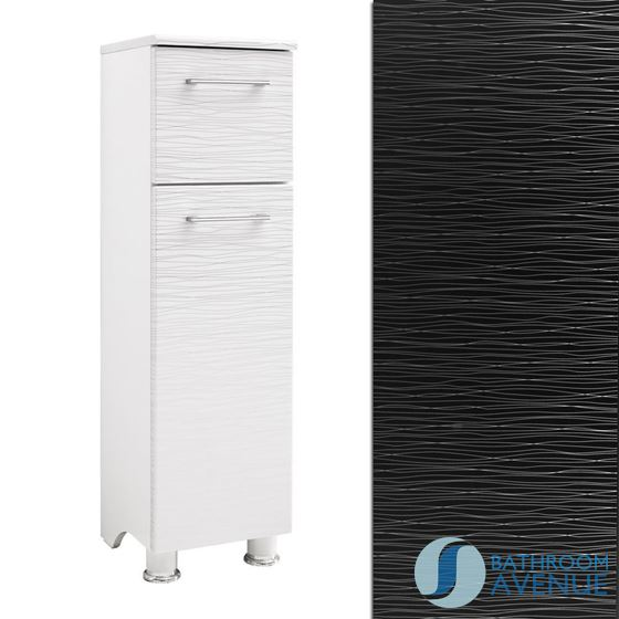 Freestanding Laundry Cabinet Black & Silver Tramonto