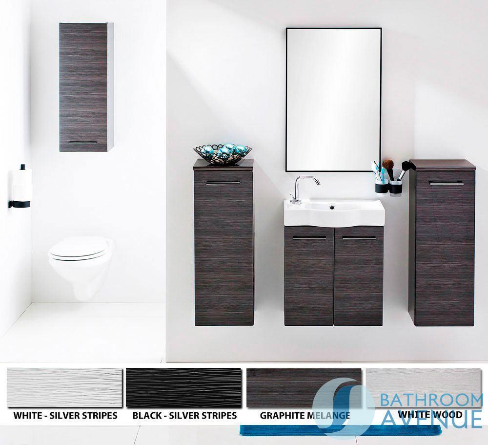 Bathroom Side Storage Unit Black & Silver Tramonto