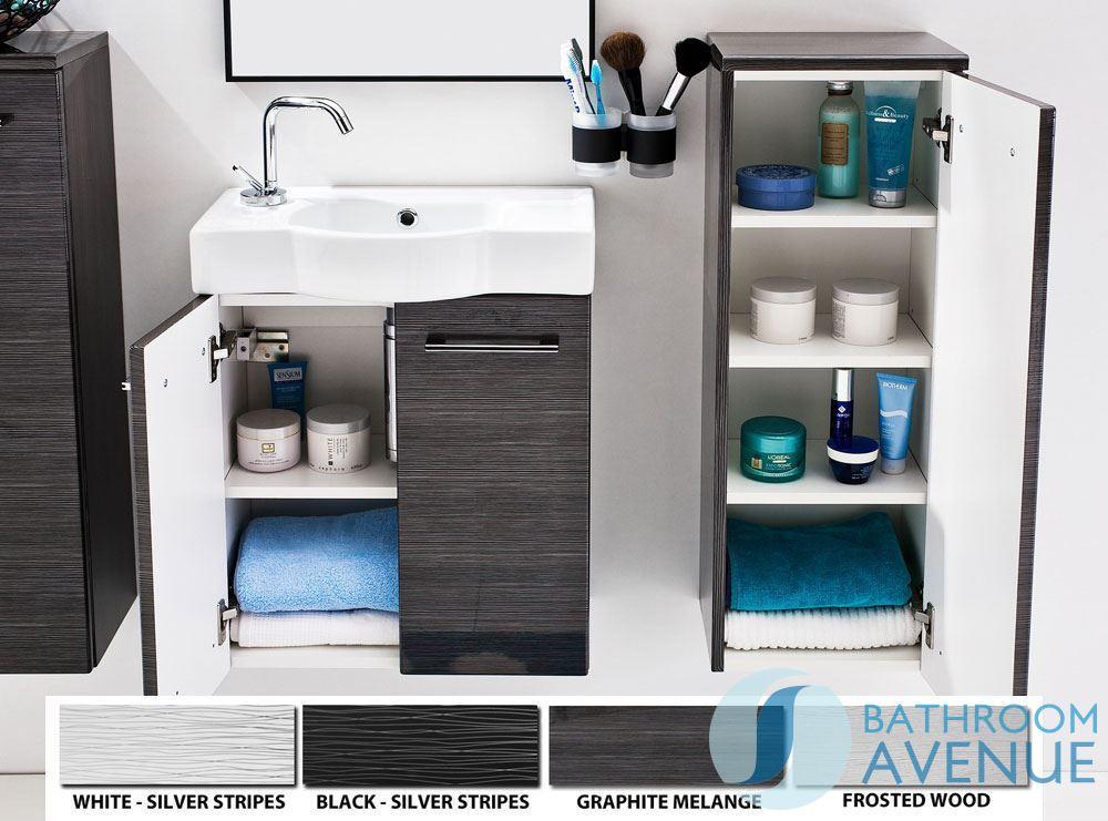 Wall Mounted Bathroom Side Storage Unit Graphite Tramonto
