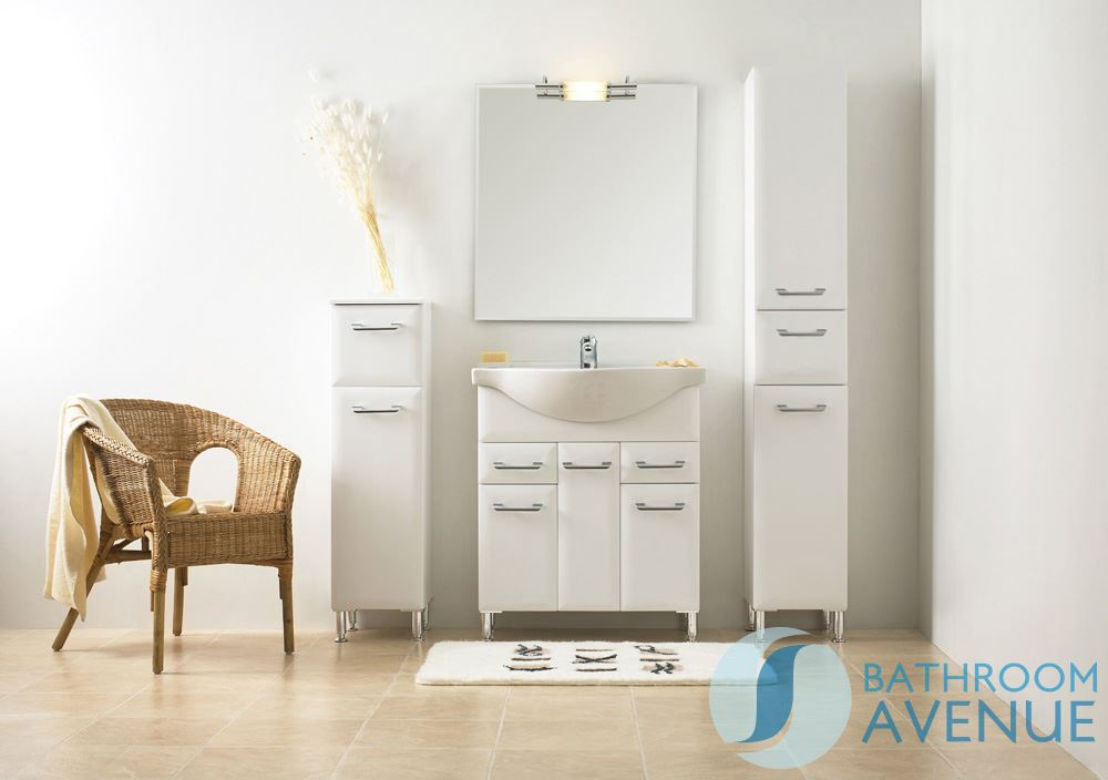White Bathroom Laundry Hamper Tall Cabinet Unit Bibiana. Bathroom ...