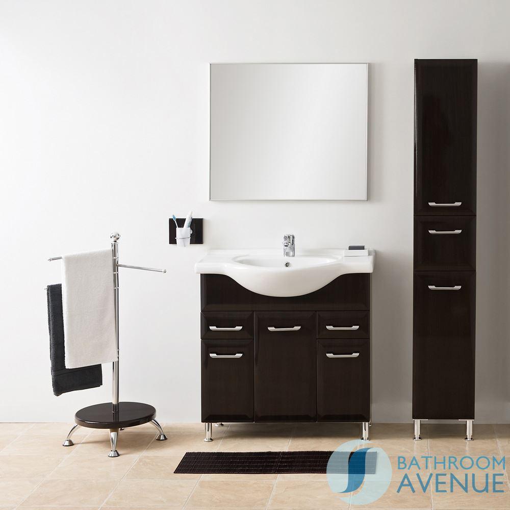 Tall Laundry Bathroom Cabinet Wenge Bibiana