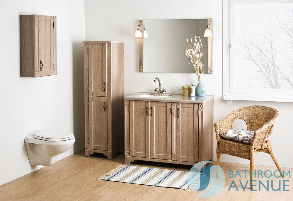 Freestanding Bathroom Tall Unit Larch Wood Vittoria Range