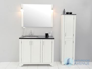 Traditional Freestanding Vanity Unit White With Resin Basin