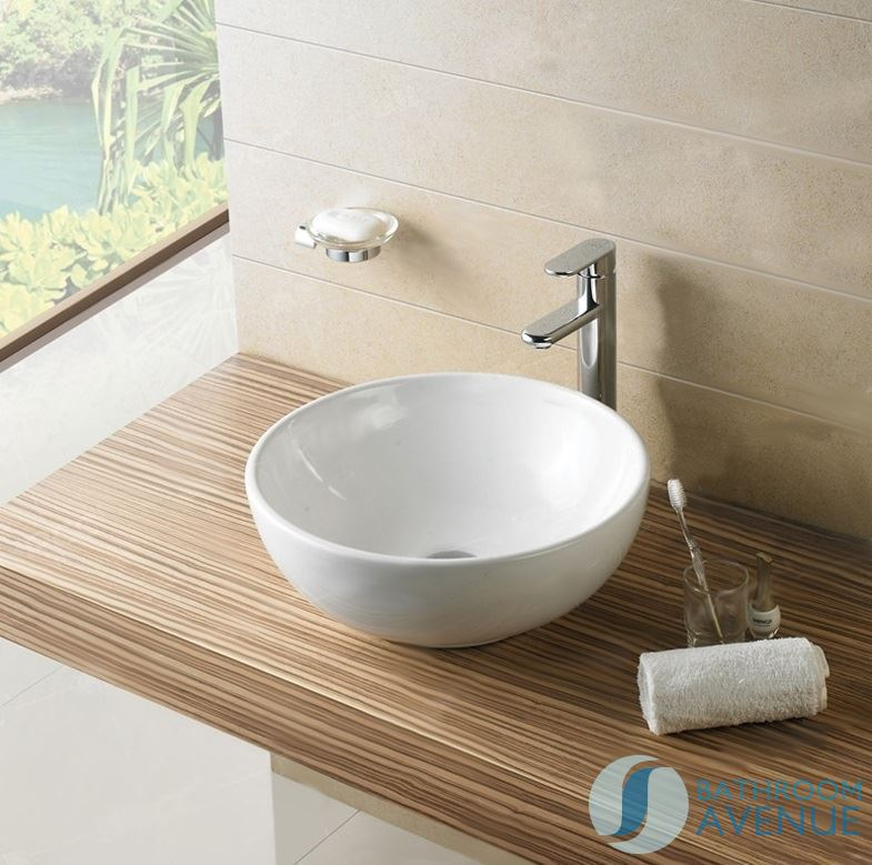 Cloakroom counter top round basin small bathroom vessel for Small bathroom basins