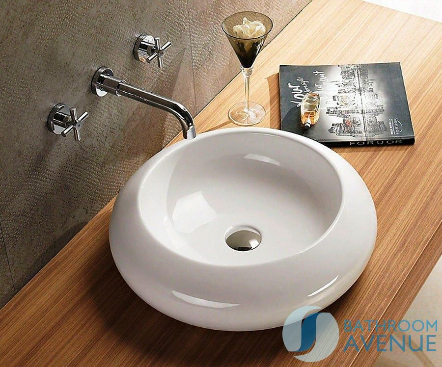 Counter top wash basin round celin small contemporary for Small bathroom basins