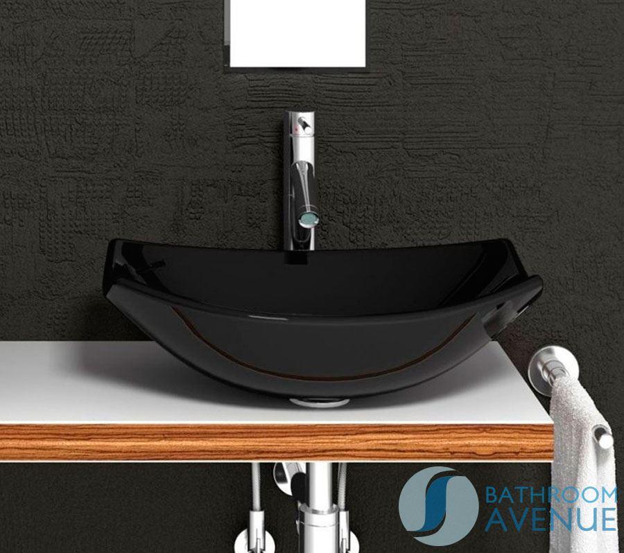 Contemporary glass wash basin oval black modern for Wash basin mirror price