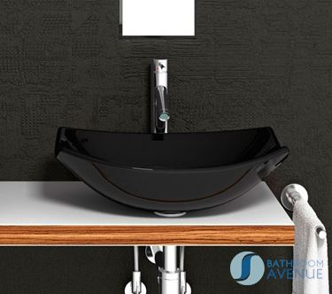 Glass Wash Basin Oval Black