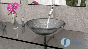 Glass Wash Basin Round Silver