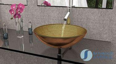Glass Wash Basin Round Aztec Gold