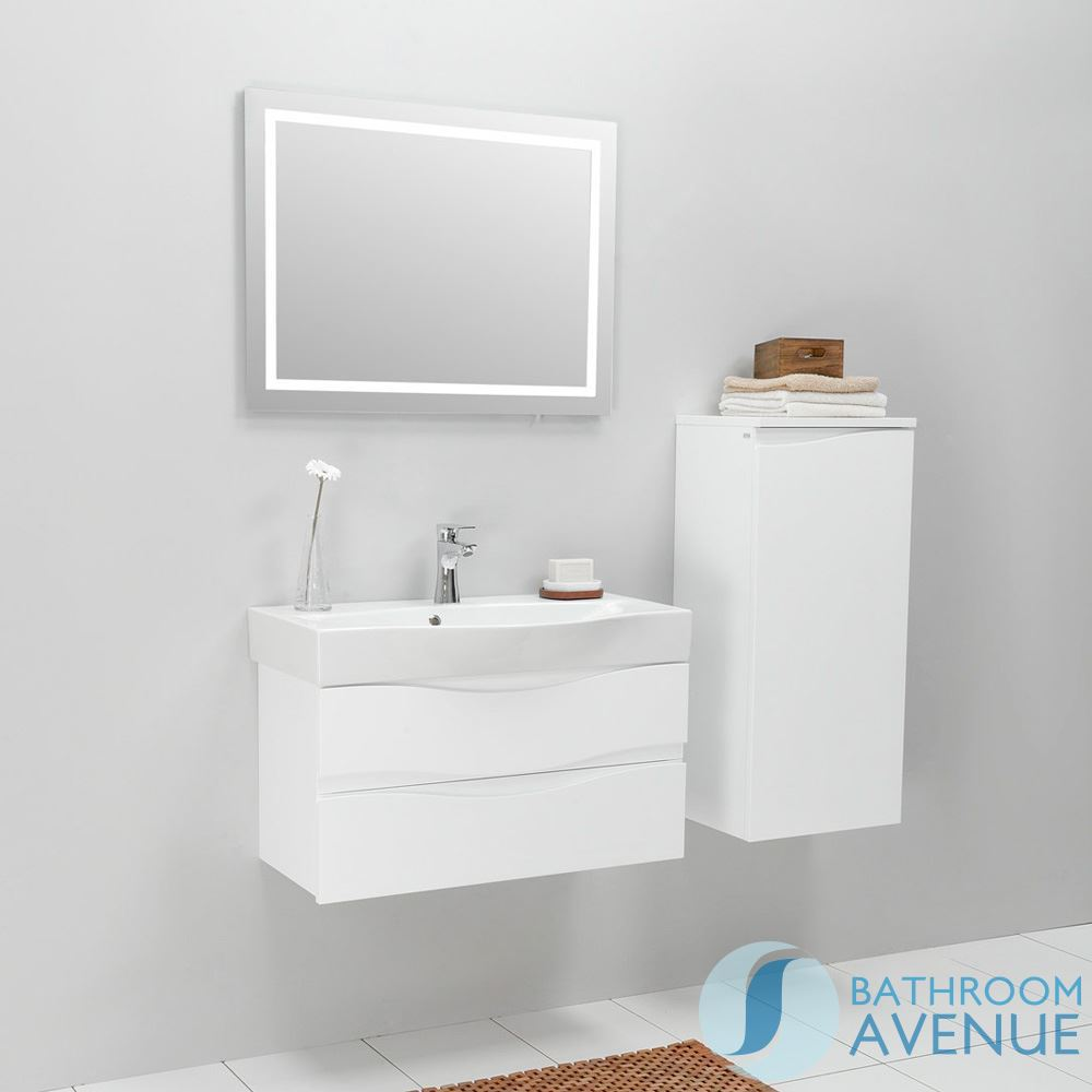 White wall mounted bathroom cabinet with sink mauricio for Bathroom washbasin cabinet