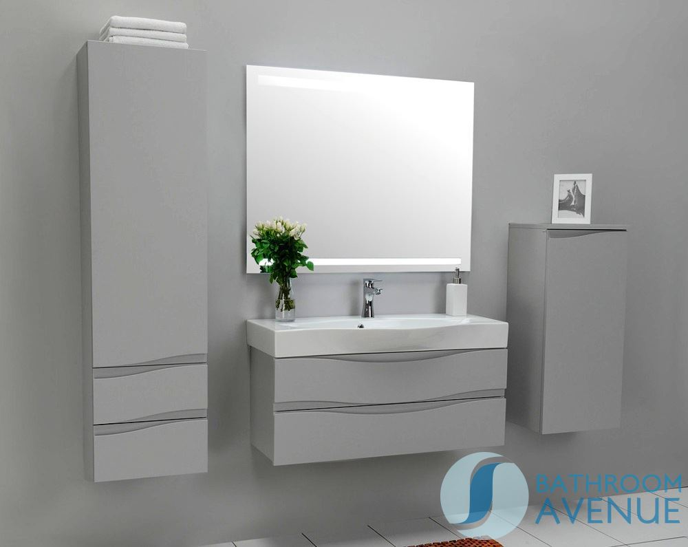 Modern bathroom wall cabinet grey mauricio grey bathroom for Bathroom furniture drawers