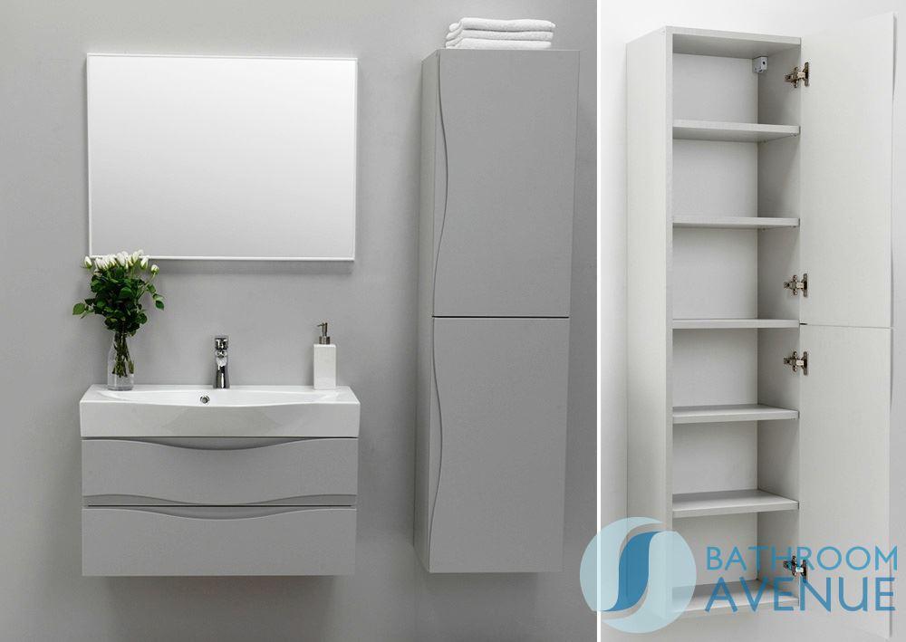 Modern 2 Door Bathroom Wall Cabinet Grey Mauricio