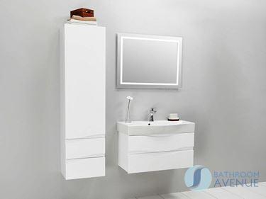 White contemporary bathroom wall hug cabinet Mauricio