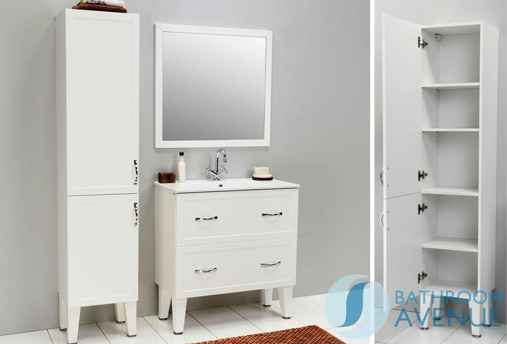 traditional freestanding tall bathroom cabinet white