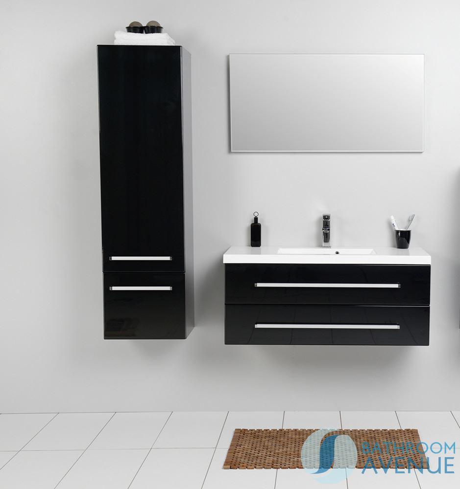 Modern tall bathroom storage unit black francesca tall for Modern black bathroom