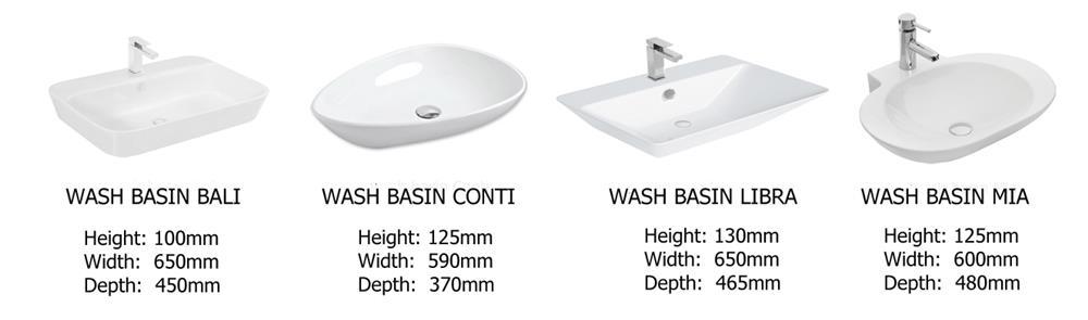 Ceramic Counter Top Basins Arcelia Range