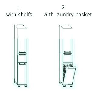 Freestanding Bathroom Laundry Hamper Cabinet White