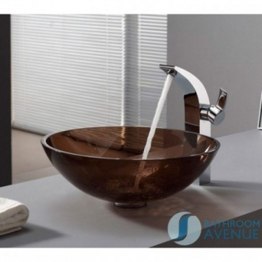 Glass Wash Basin Round Brown