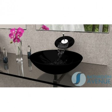Glass Wash Basin Round Black