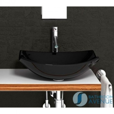 Contemporary  Glass Wash Basin Oval Black