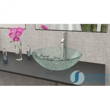 Glass Wash Basin Round Frosted