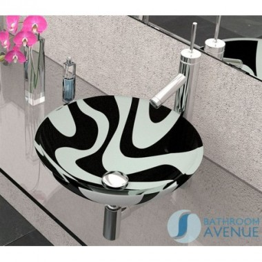 Glass Wash Basin Round Black&White