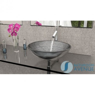 Glass Wash Basin Round Silver