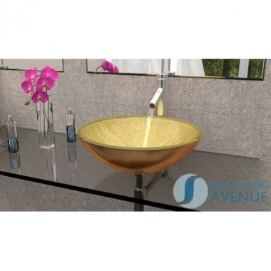 Glass Wash Basin Round Gold