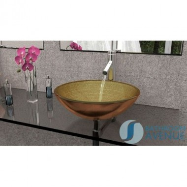 Glass Wash Basin Round Aztec Gold