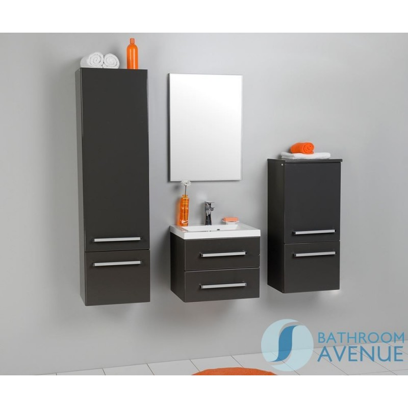 Grey Wall Mounted Bathroom Cabinet With Sink