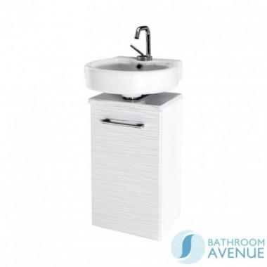 Compact Vanity Unit White With Silver Stripes Tramonto
