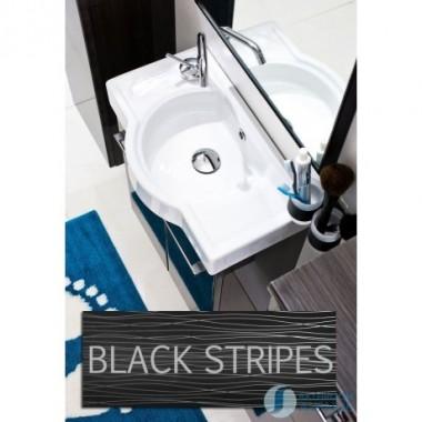 Cloakroom Sink Cabinet Black & Silver Stripes Tramonto
