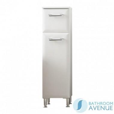 Bathroom Laundry Hamper Cabinet Unit Gloss White Bibiana