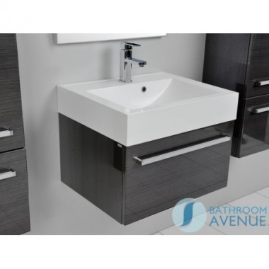 Modern 1 drawer vanity unit & resin basin graphite Giuseppine
