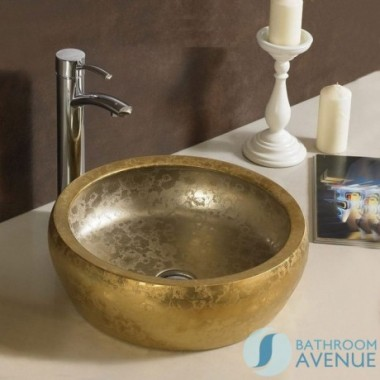 Modern counter top wash basin round ceramic Leora Gold