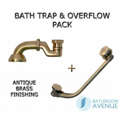 Bath Waste Overflow and Trap Pack Antique Brass
